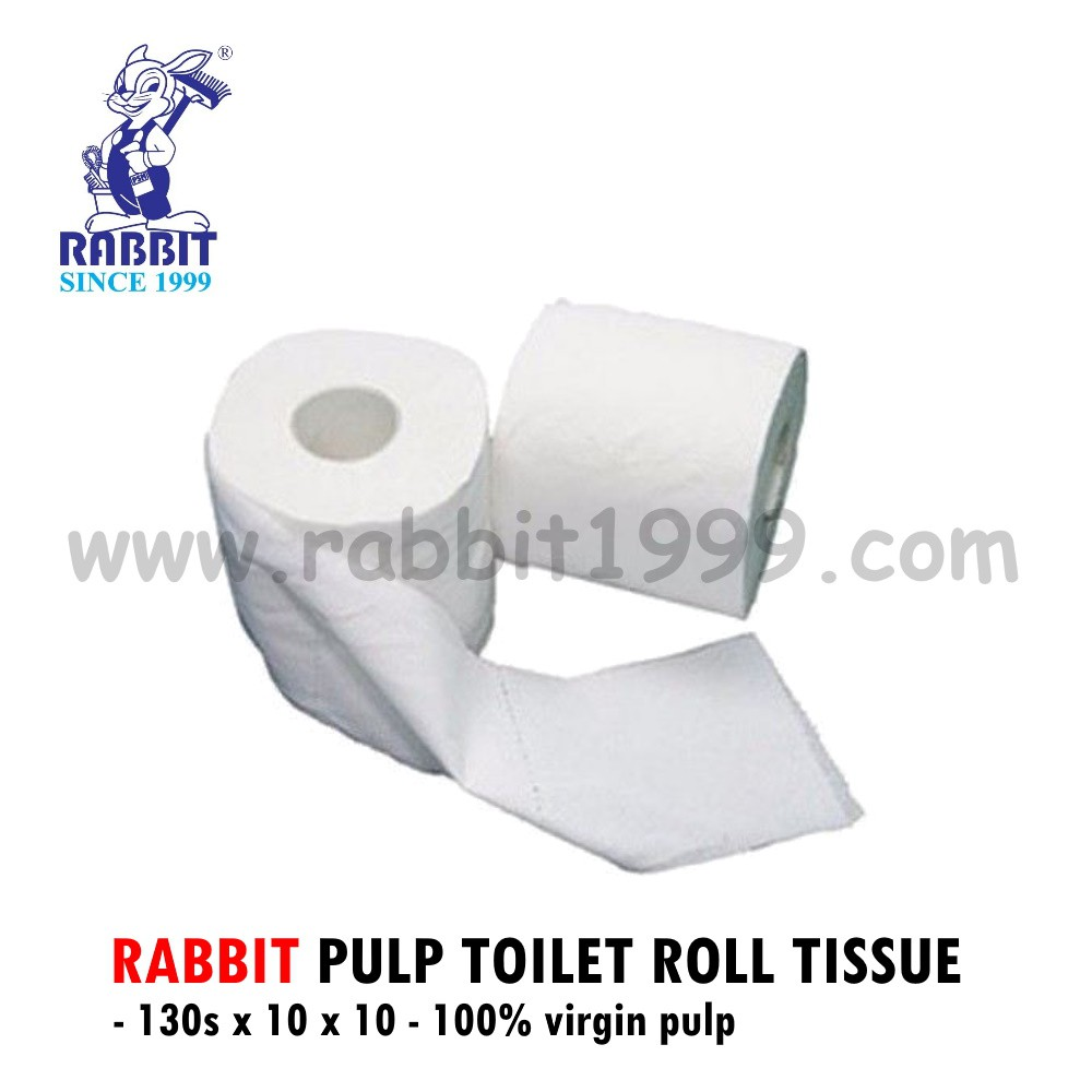 (RM0.48/ Roll) RABBIT PULP TOILET ROLL TISSUE(130s x 10nos x 10roll) 100% virgin pulp- tisu tandas/ toilet tissue