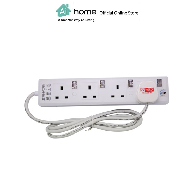 SOUNDTEOH PS-114 Extension Socket 4 Gang With Blueneon with 1 Year Malaysia Warranty [ Ai Home ]