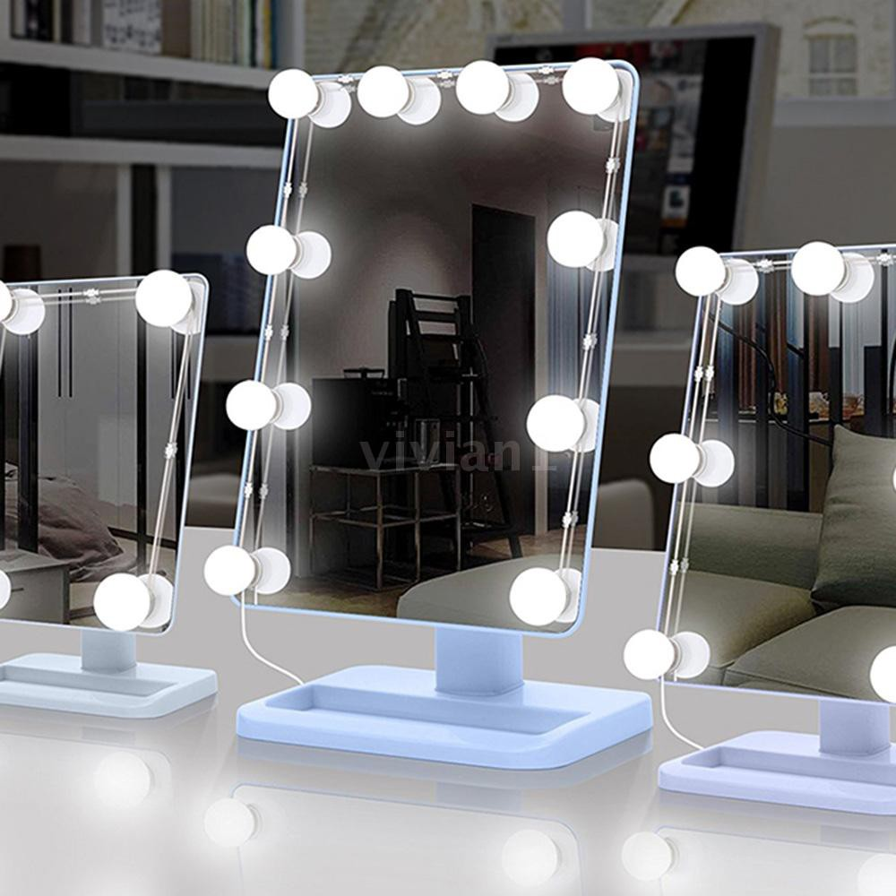 Usb Operated Hollywood Style Led Vanity Makeup Mirror Light 5000k 6500k Dimmable Dressing Table Mirror Light Bulbs Cosm