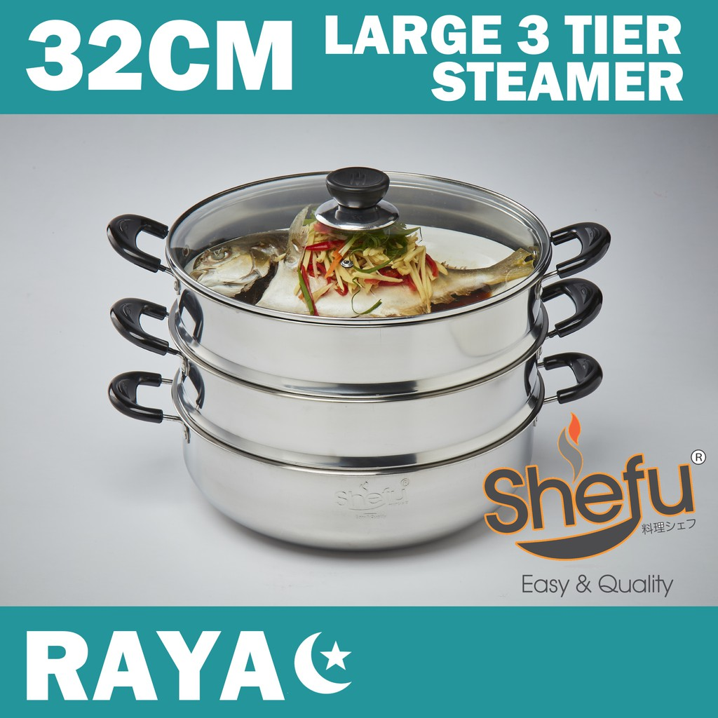 Shefu 32cm 3 Tier Steamer Pot with Tempered Glass Stainless Stell Wok