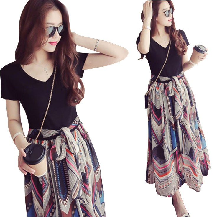 Summer Floral Chiffon V-neck High Waist Long Short Sleeve Dress high  quality dress