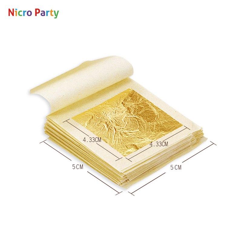 Genuine Pure 100PCs 24K Gold Leaf Gilding Fram Sheets for Art Craft Decor