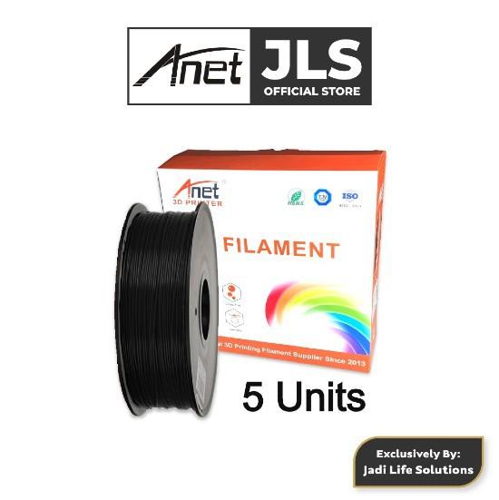Anet 340m 1.75mm PLA 3D Printing Filament Biodegradable Material - Black (5 Units)