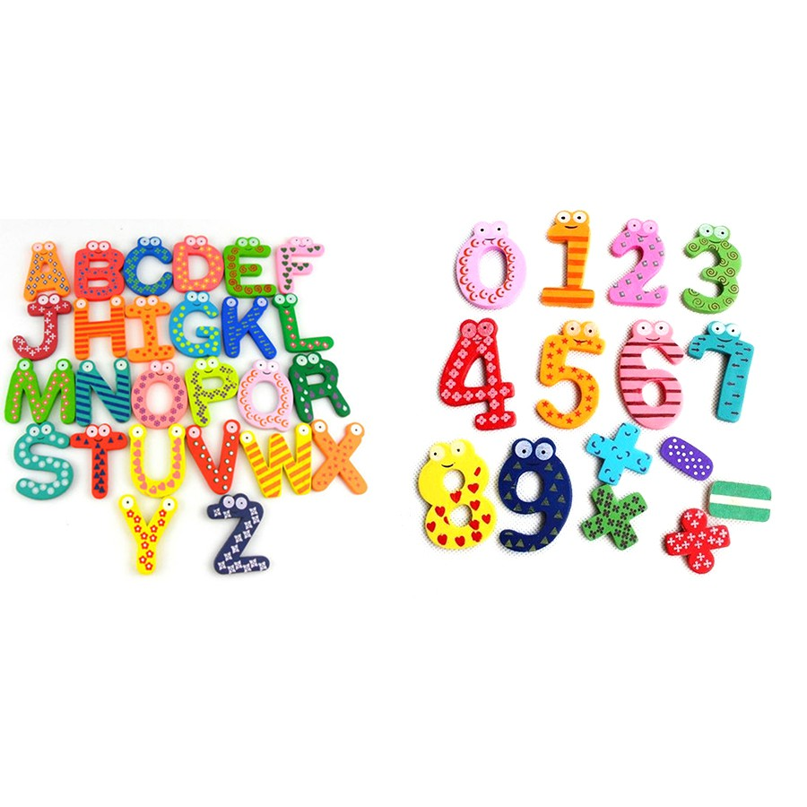 Wood Cute Fridge Magnet Alphabet Animal Number Early Educational for Kids Baby