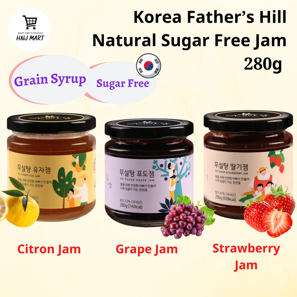 Korea Father's Hill Natural Sugar Free Jam 280g [Grape/Citron/Strawberry] Fruit Jam Fruit Spread Bread Spread