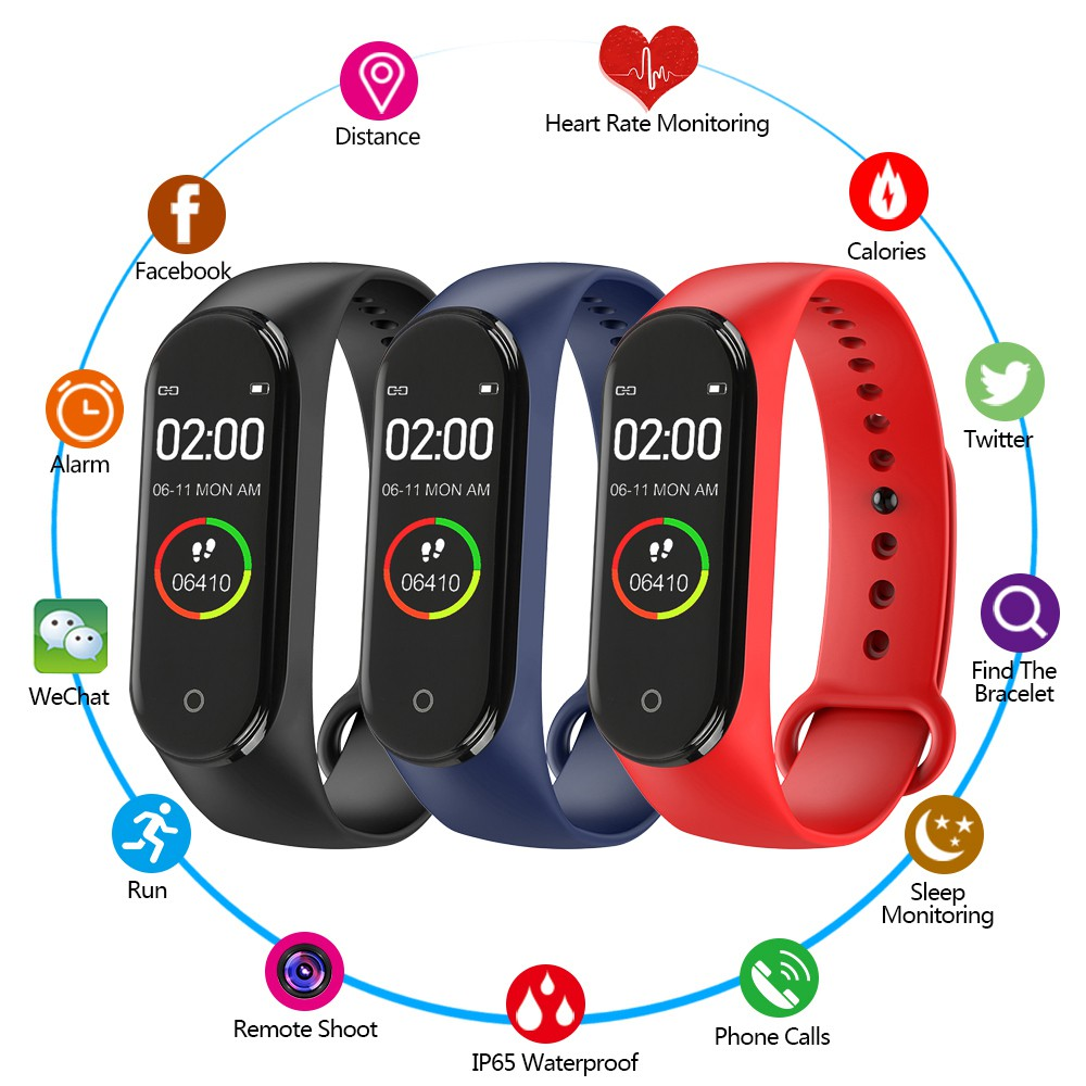 🔥 New Smart Watch xiaomi IP67 Waterproof M3 M4 Heart Rate Tracker sport  watch mi brand