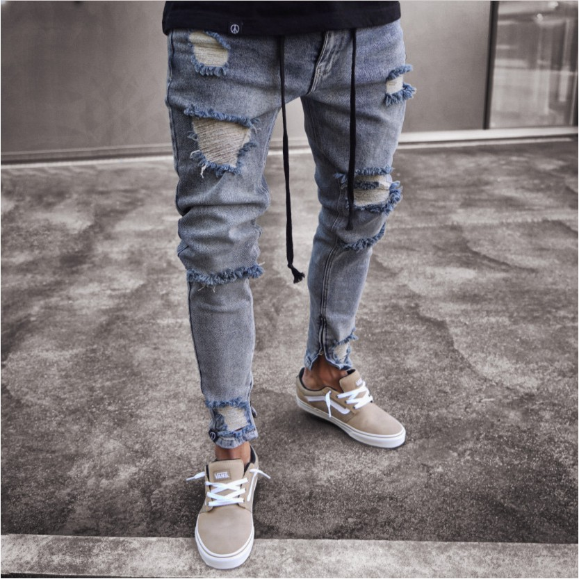 392d1eea8256 ProductImage. ProductImage. New Ripped Frayed Pants For Men Skinny Destroyed  Famous Hip Hop JEANS