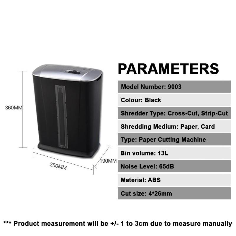 Infineo Industrial Mini Paper Shredder; Black 13L