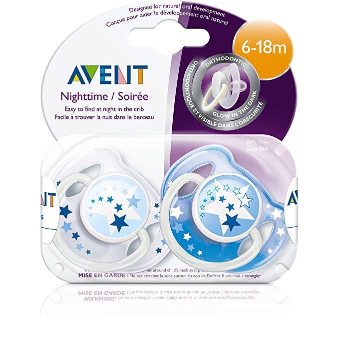 ORIGINAL PHILIPS AVENT 2 Pcs BPA Free Night Time Pacifier Glow In The Dark Puting Bayi Murah Putijng Cantik