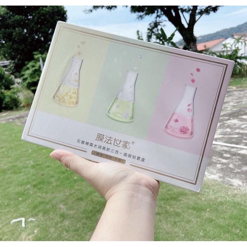 【膜法世家 Mask Family】花瓣精露水润亮肤三合 一面膜贴套盒 Petals Pure water Oil Moisturizing & Brightening Mask Set (21 Pieces)
