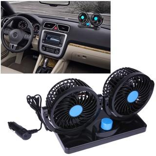 Car Fan Ventilador Air Conditioning Auto Cooler Double 360° Rotatable 12V or 24