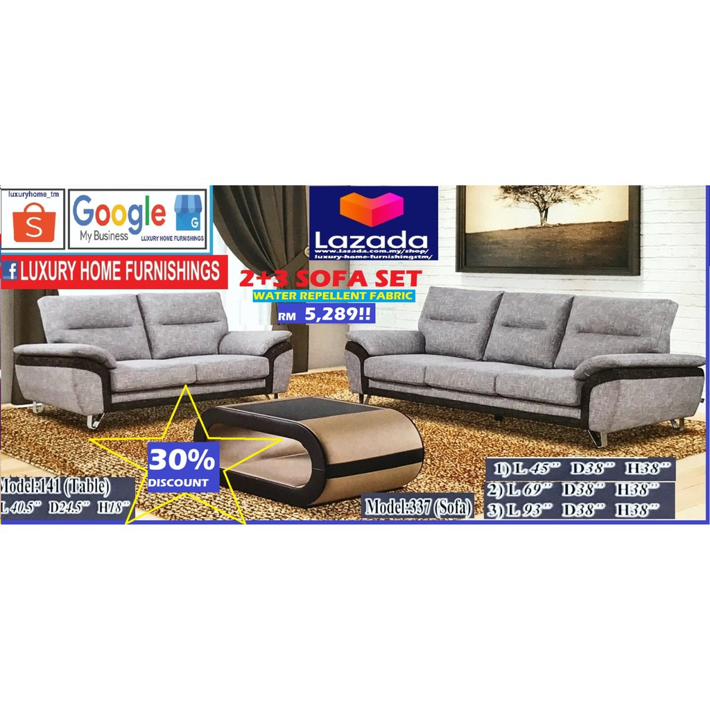 SOFA SET, 2+3, AVAILABLE IN WATER REPELLENT FABRIC OR Casa Leather, SAME PRICE, Export Series!! RM 5,289!! ENJOY 30% OFF