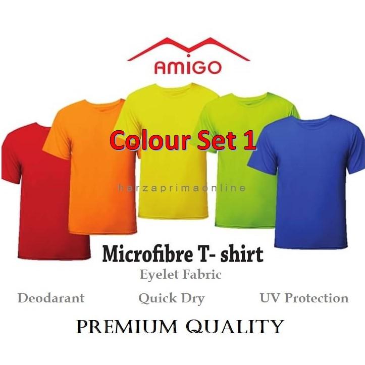 d4e9919d8e1 T-Shirt Round Neck AMIGO Colour Set 1 For Men And Woman (Free Gift)