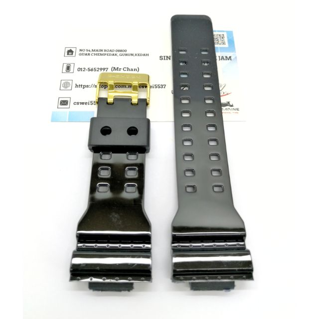 Fit Casio G Shock Ga 100 Ga 110 Replacement Watch Band Glossy Black Resin