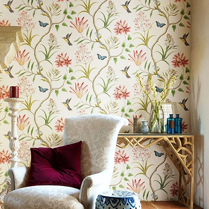 Wallpaper Bedroom Wall Covering Modern Vintage Pink Floral Wallpaper Blue Tropical Butterfly Birds Flower Wall Paper Shopee Malaysia