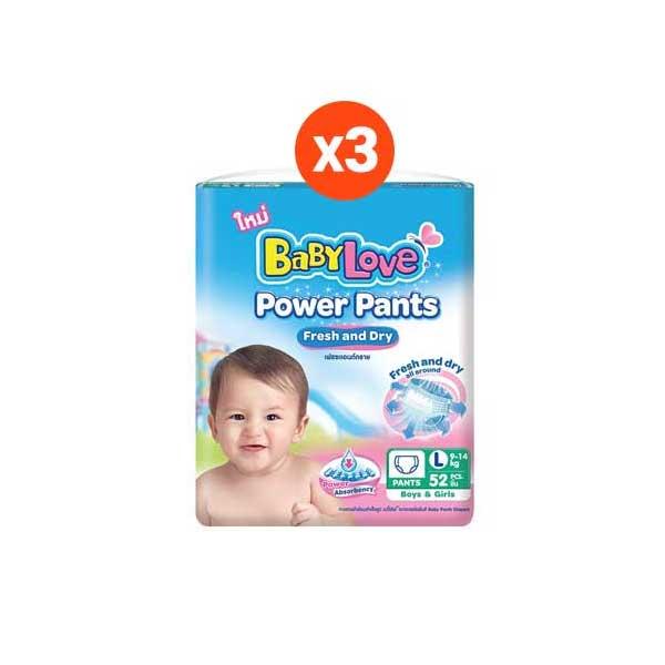[ขายยกลัง] BABYLOVE POWER PANTS กางเกงผ้าอ้อมเด็ก เบบี้เลิฟ พาวเวอร์ แพ้นส์ ขนาดจัมโบ้ ไซส์L (52ชิ้น) x 3แพ็ค