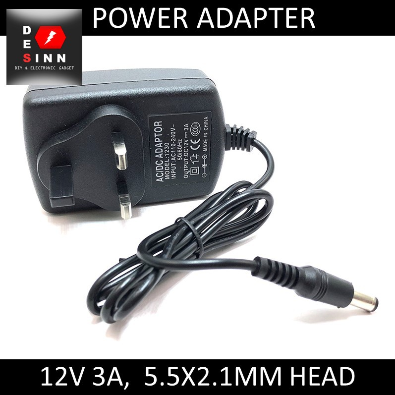DC 12V 3A Power Adapter 3 Pin Head 5 5 x 2 1mm