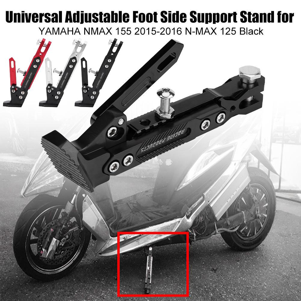 NMAX Motorbike Side Stand Extender Enlarger Kickstand for YAMAHA NMAX N MAX 125 155-Black+Black