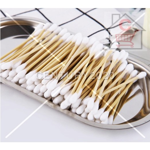 RIMEI Cotton Swab Bamboo Cotton Swab Disposable Wooden Cotton Tip Applicator Swabs Double Head 150Pcs