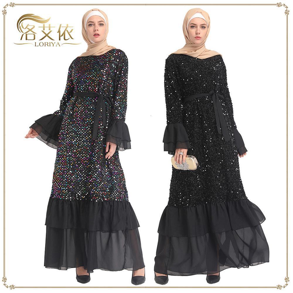 727d77c1e47fd Sequin Abaya Islam Muslim Dress Abayas For Women Kaftan Qatar ...