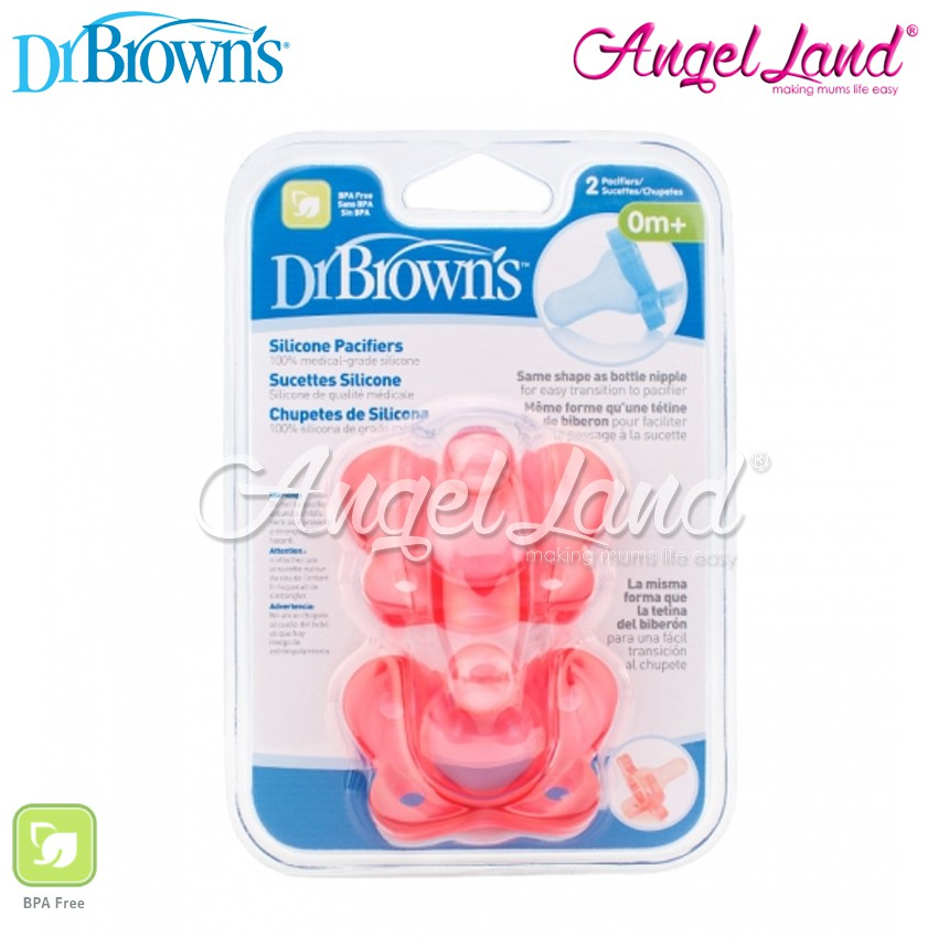 Pink 3 Pack Pacifiers For Girls Best Dr Brown/'s One Piece Silicone Pacifier 0m