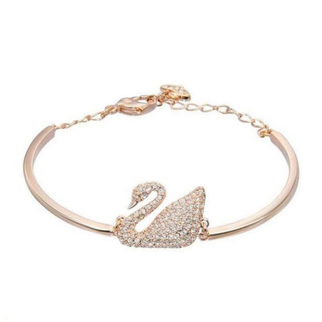 6c294fa48fdd SSA Swan Bangle Italian Luxury Zircon Gold Plated Red Chain Crystal Bracelet