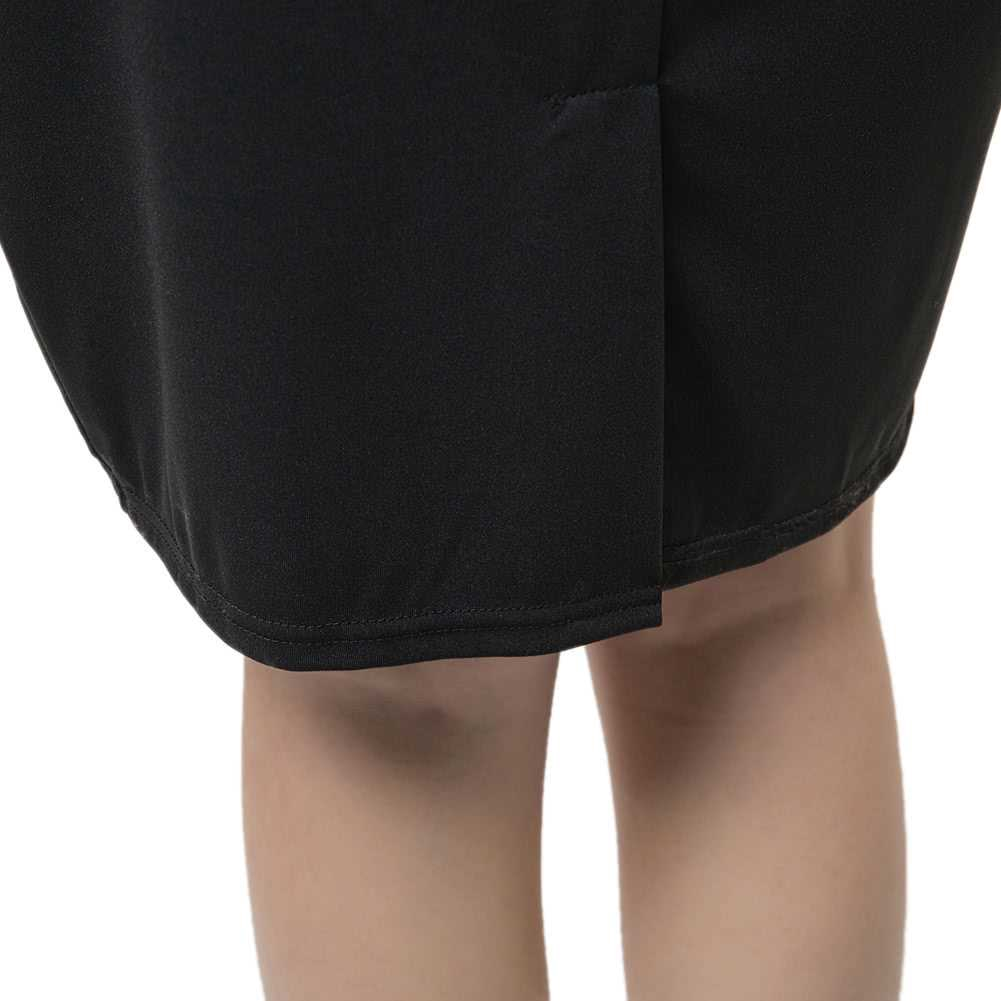 New Fashion Women Pencil Dress Studded Decoration Zipper Front Short Sleeve Mini Bodycon Fit Sexy One-Piece Black (Blac