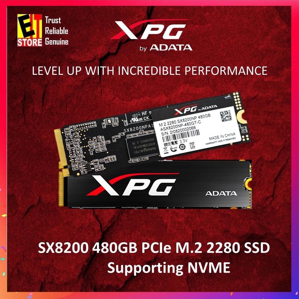 ADATA XPG SX8200 PCIe Gen3x4 M 2 2280 480GB SSD (XPG GAMING)  ADT-ASX8200NP480GTC