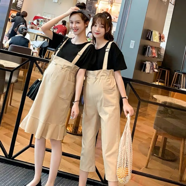 [M~2XL]Maternity wear loose casual overalls or skirt 孕妇裤夏季宽松休闲孕妇背带裤新款孕妇裤子怀孕期孕妇七分裤