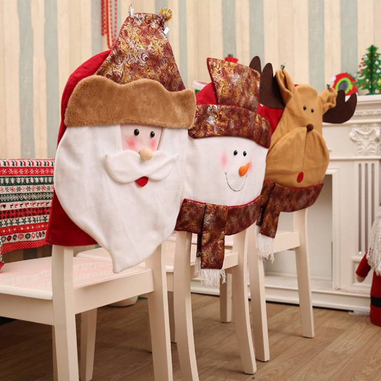 Christmas Chair Back Covers.Christmas Chair Cover Chair Back Cover Xmas Dinner Table Party Decor