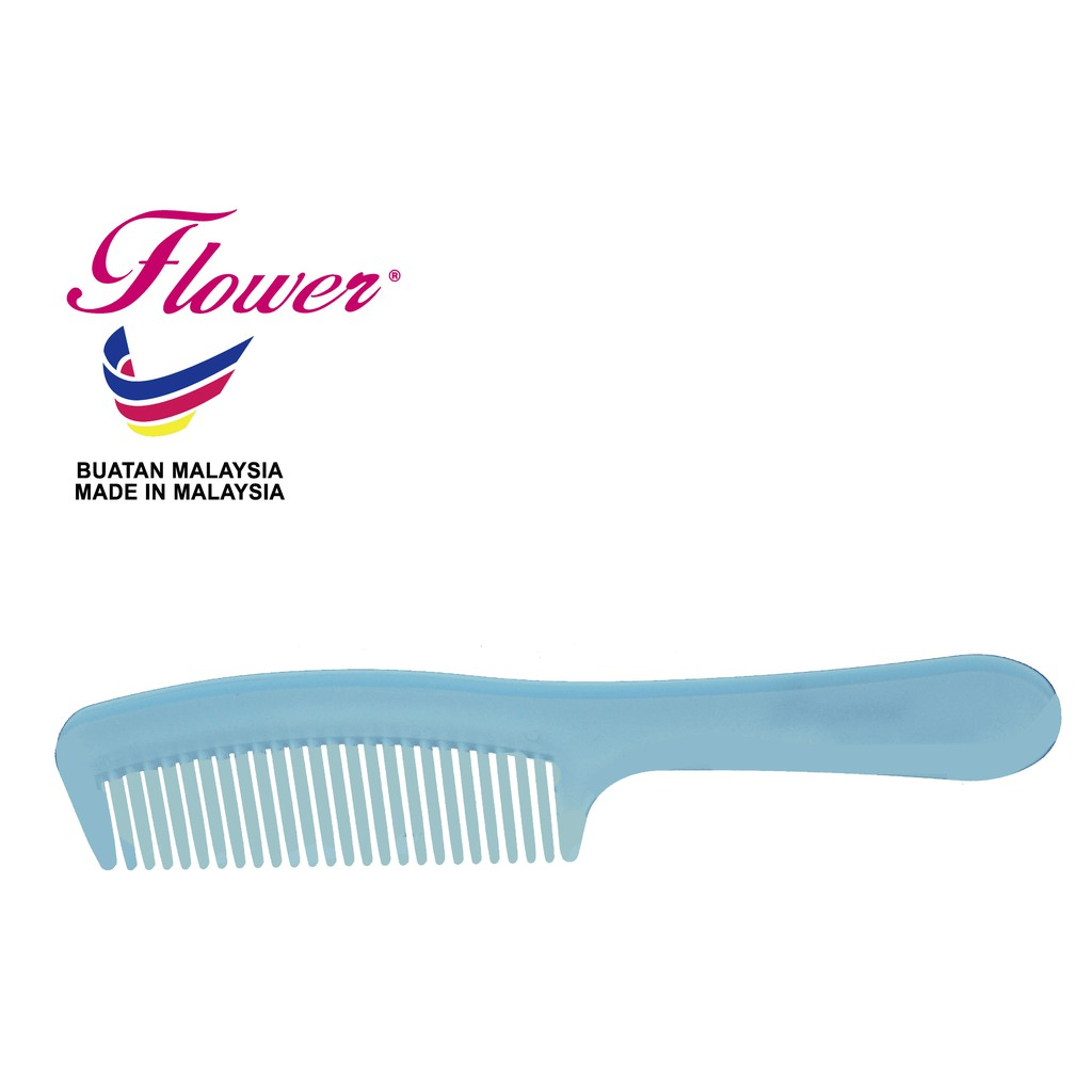 Flower Brush Crystal Colour Comb - Blue Hair Styling Made in Malaysia (Sikat/Berus Rambut/Balung/Sisir)