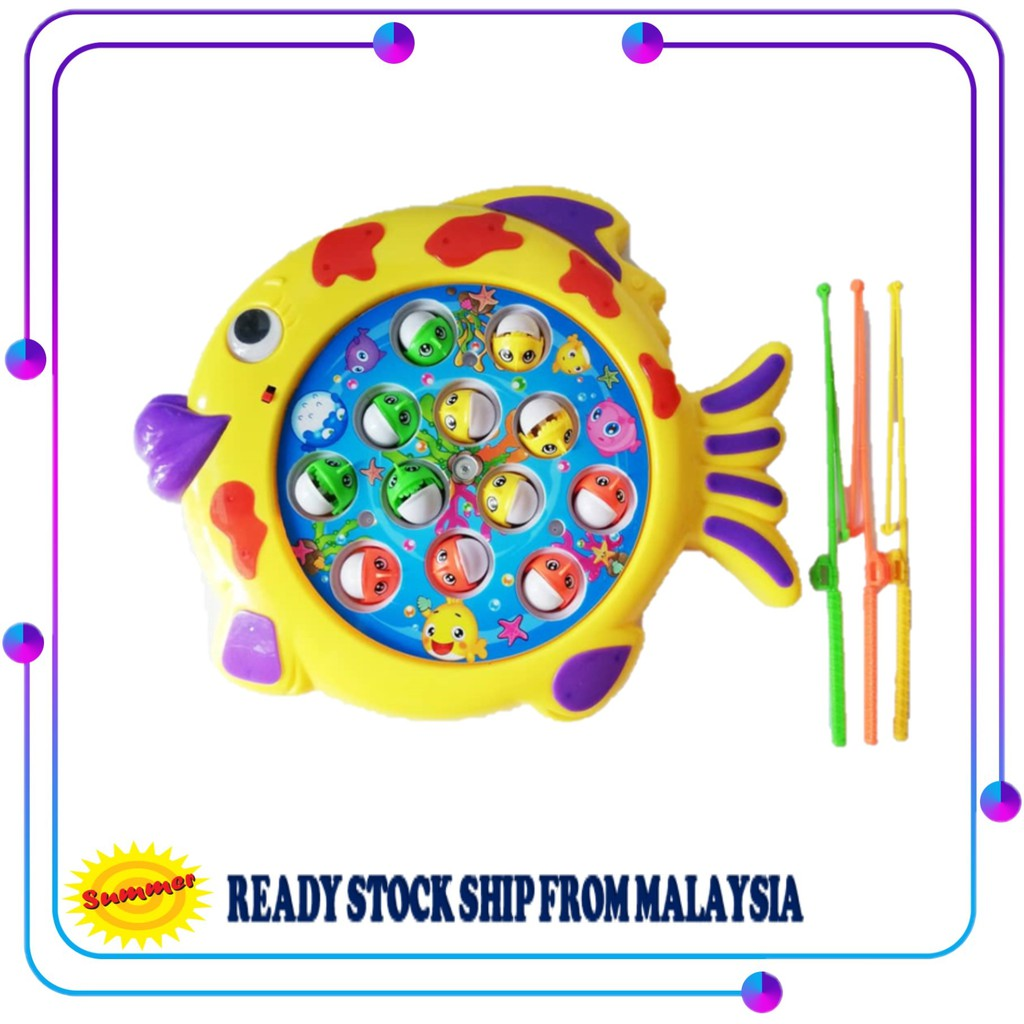 Sea Animals Fish Musical Fishing Game Toy with 12 Fishes and 3 Fishing Rods