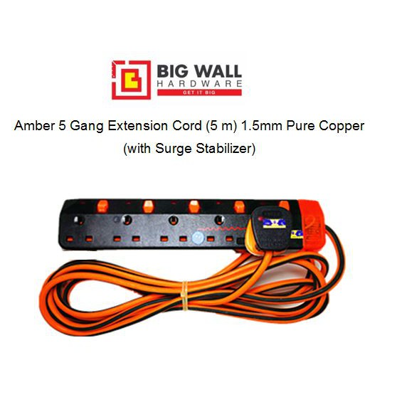Amber 3/4/5 Gang Extension Cord (5 m) with Surge Stabilizer 1.5mm Pure Copper