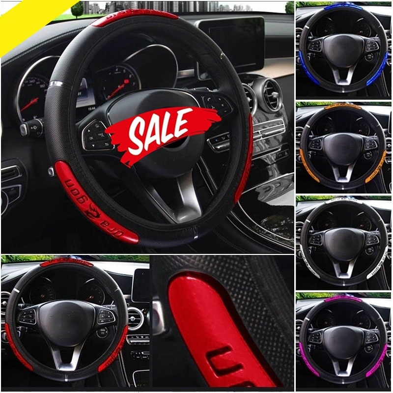 Car Steering Wheel Covers 100/% Brand New Reflective Faux Leather Elastic China Dragon Design Auto Steering Wheel Protector,Black Red