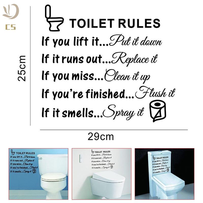 CS♥ Toilet Rules Bathroom Removable Wall Sticker Vinyl Art Decals DIY Home  Decor
