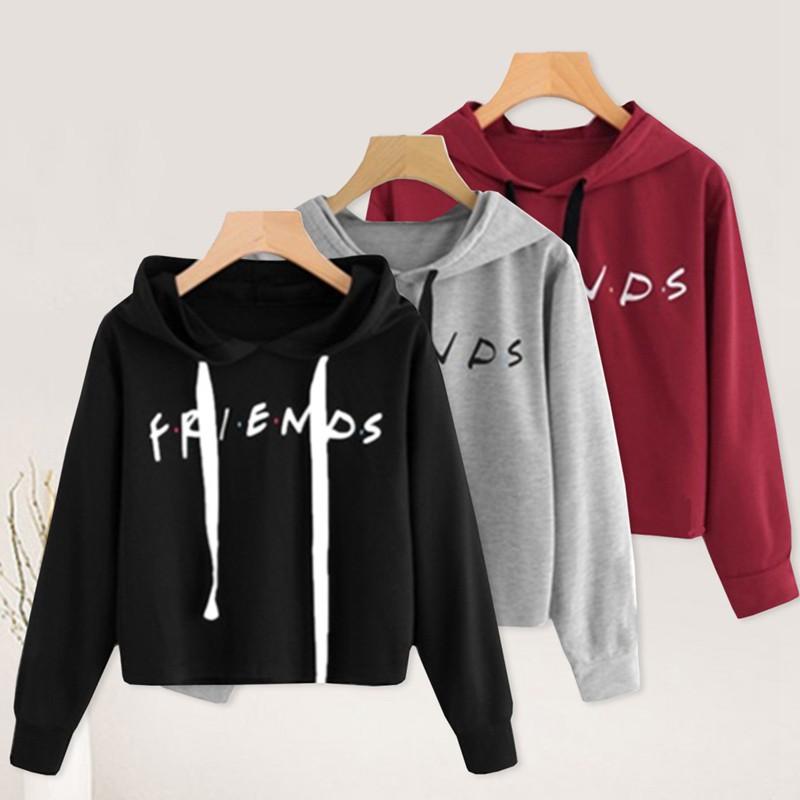 61f75bafc5412 Women FREUNDE Print Langarm Crop Hoodie Sweatshirt Pullover Crop Pullover  oben