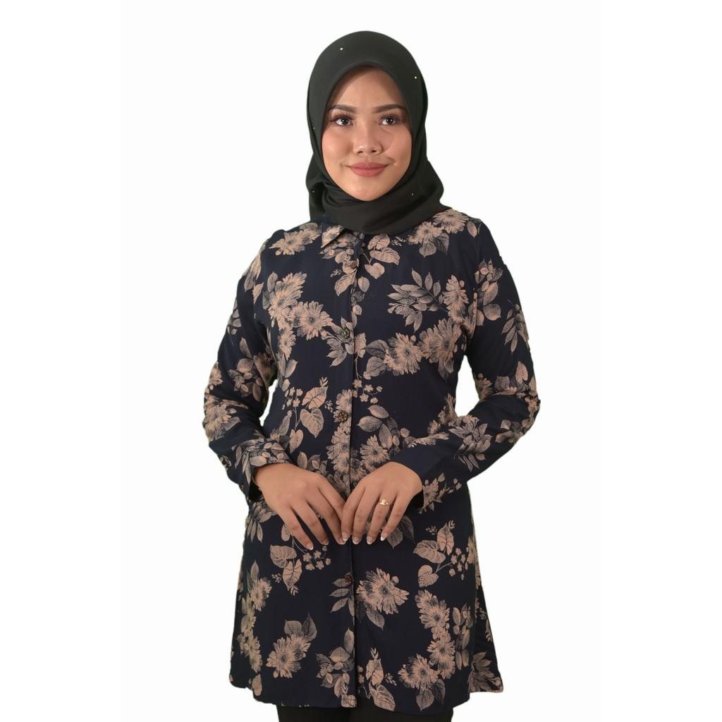 MINNA Floral Prints Blouse Muslimah - Blouse Cotton Labuh - Premium - Long Sleeves Lengan Panjang