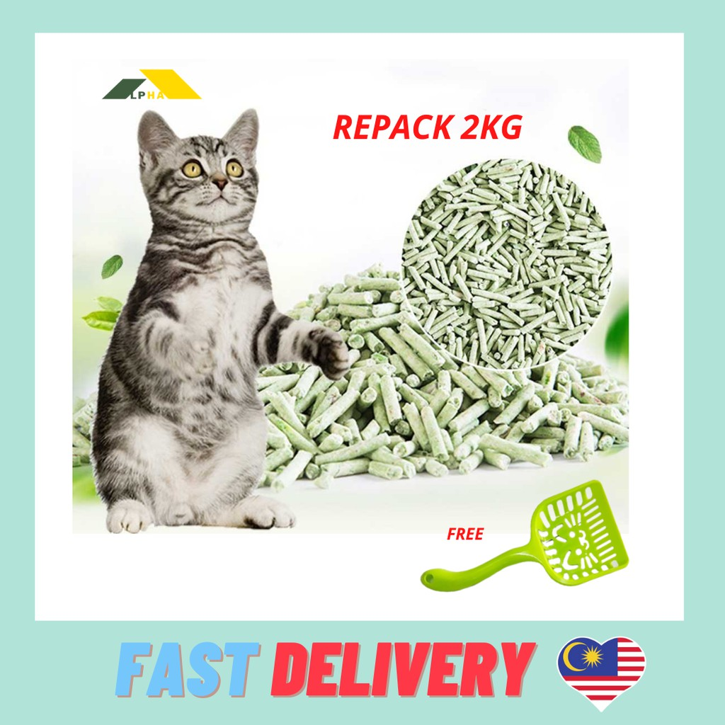 Alpha Premium Green Tea Tofu Cat Litter  2KG Repack Free 1 Cat Scoop