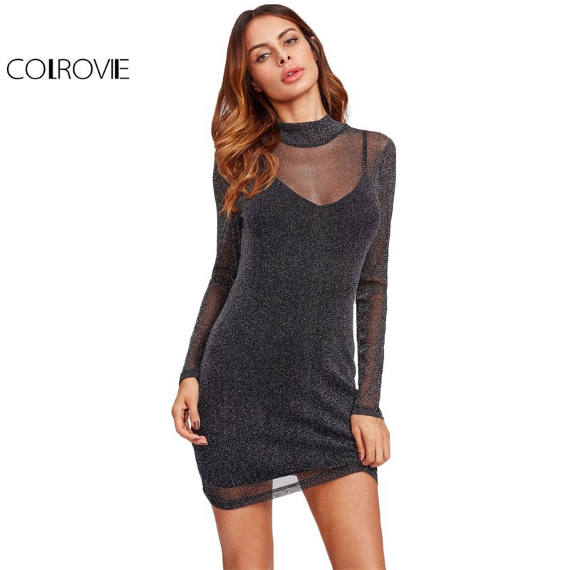 e5338e3f3788c Colrovie Glitter Mesh 2 In 1 Dress Overlay Women Sexy Party Club Dresses  Bodycon Mini Dress Black