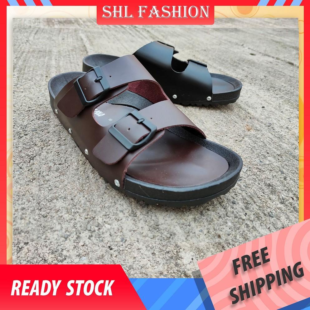 SHL Men Sandal PU Leather Sandal Lelaki Flip Flops Slippers 【男士拖鞋】967