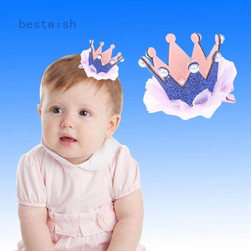 0bc5361151 Cute Baby Girl Crown Princess Hair Clip Lace Pearl Shiny Star Headband Hair  Pin