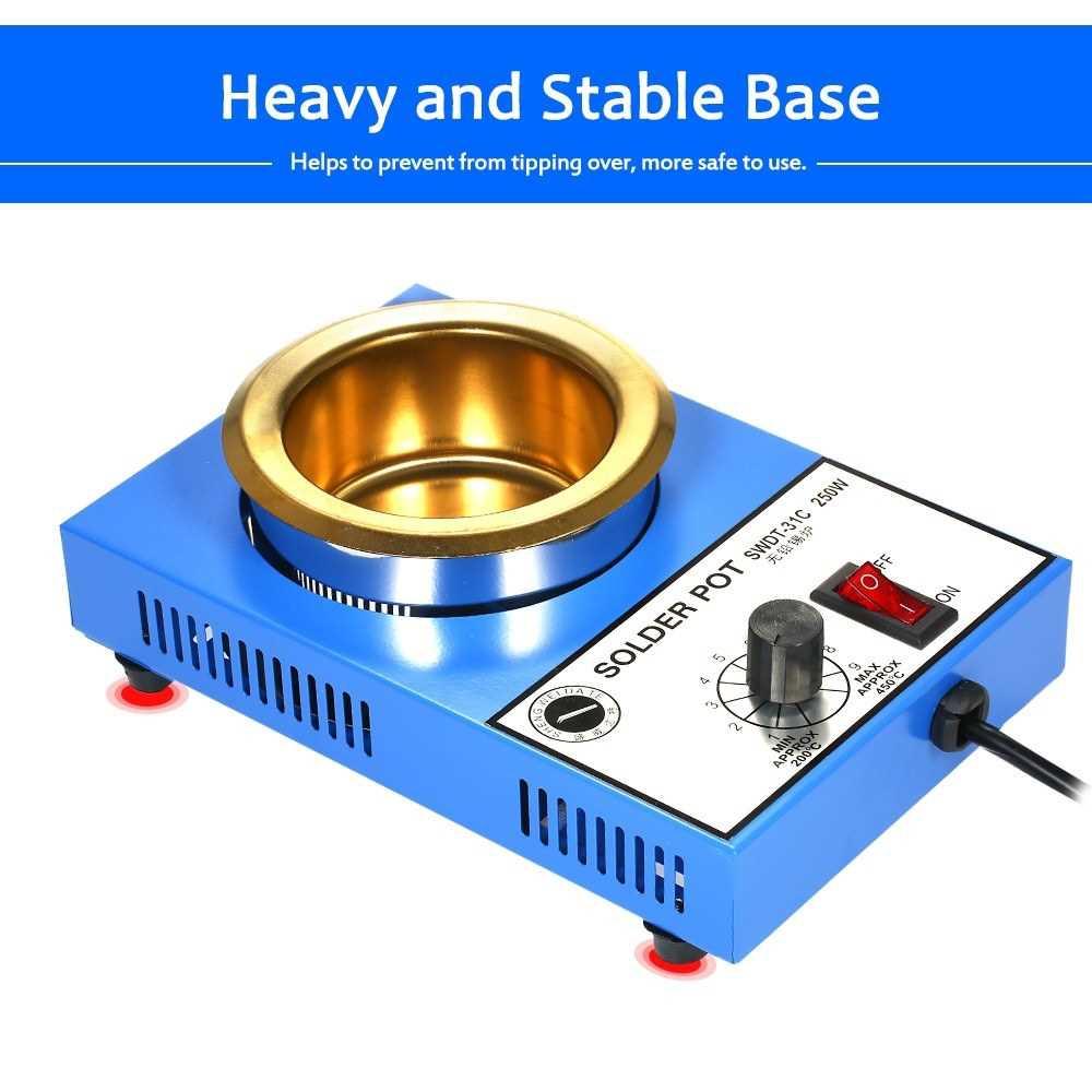 250W 220V 80mm 800g Mini Lead Free Soldering Pot Titanium Coating Stainless Steel Solder Pot Compact Temperature Adjust