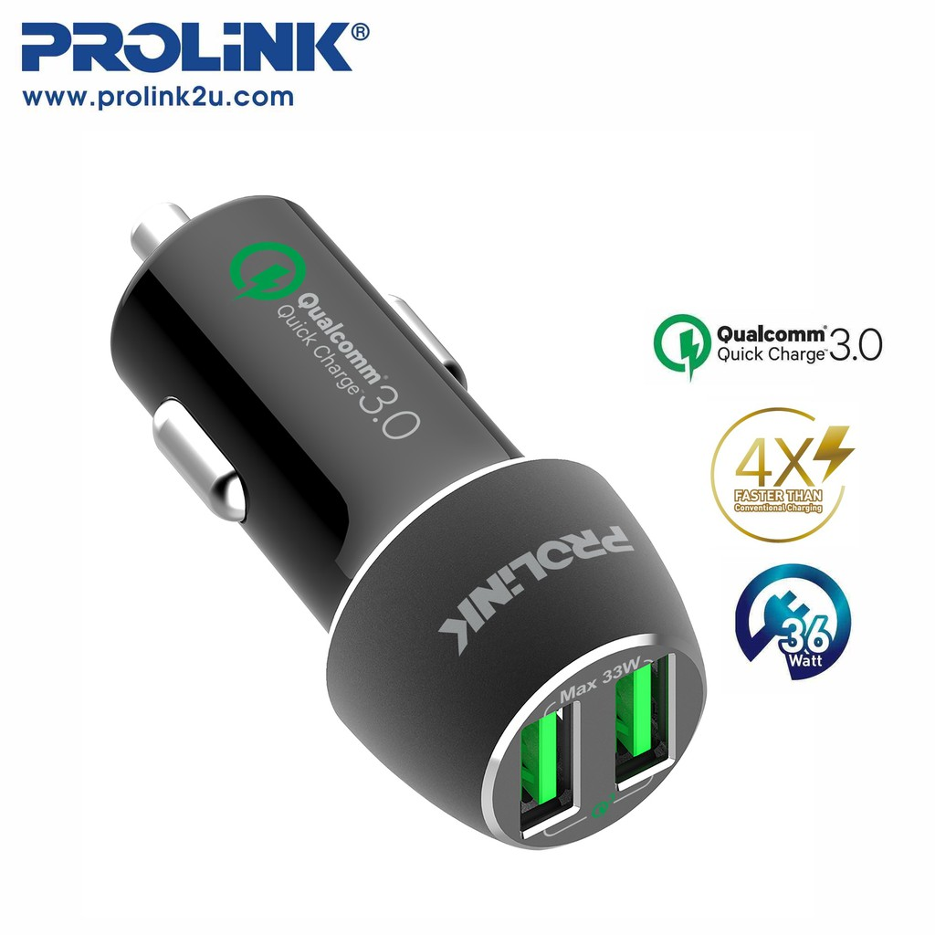 PROLiNK 2 Port Car Charger 2x Qualcomm QC3.0 Fast Charging (36W) PCC23601