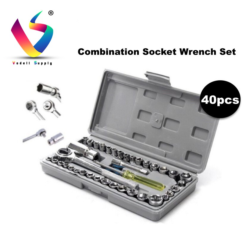 VODELL 40pc Hand Tools Ratchet Socket Set Tool Box Spanner Set DIY Wrench  Set