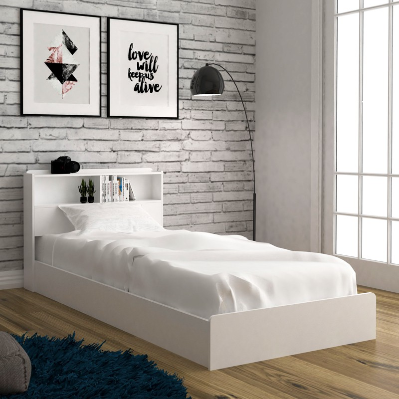 Furniture Direct LANNA single size storage bed frame/ katil single/ katil single kayu/ storage bed white and oak color
