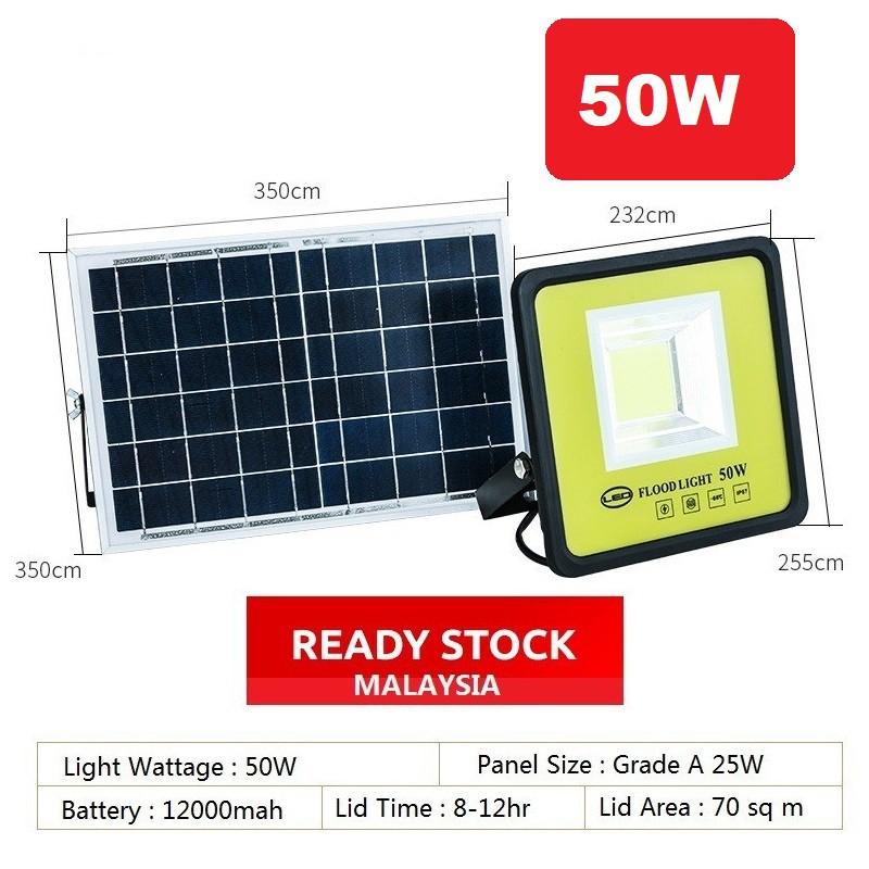 [ READY STOCK ]  Solar-Powered Waterproof Outdoor Flood Light 50w 100w LED COB Outdoor Light Lamp Pelita Lampu