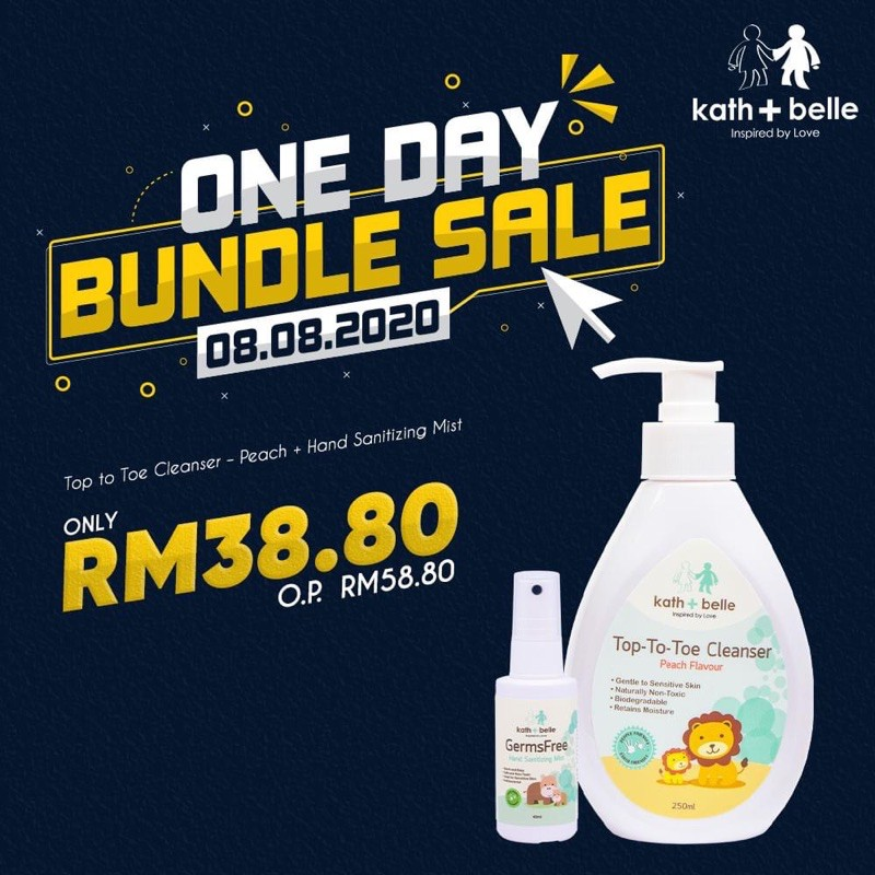 [8.8 Deal] Kath + Belle Top to Toe Cleanser – Peach + Hand Sanitizing Mist