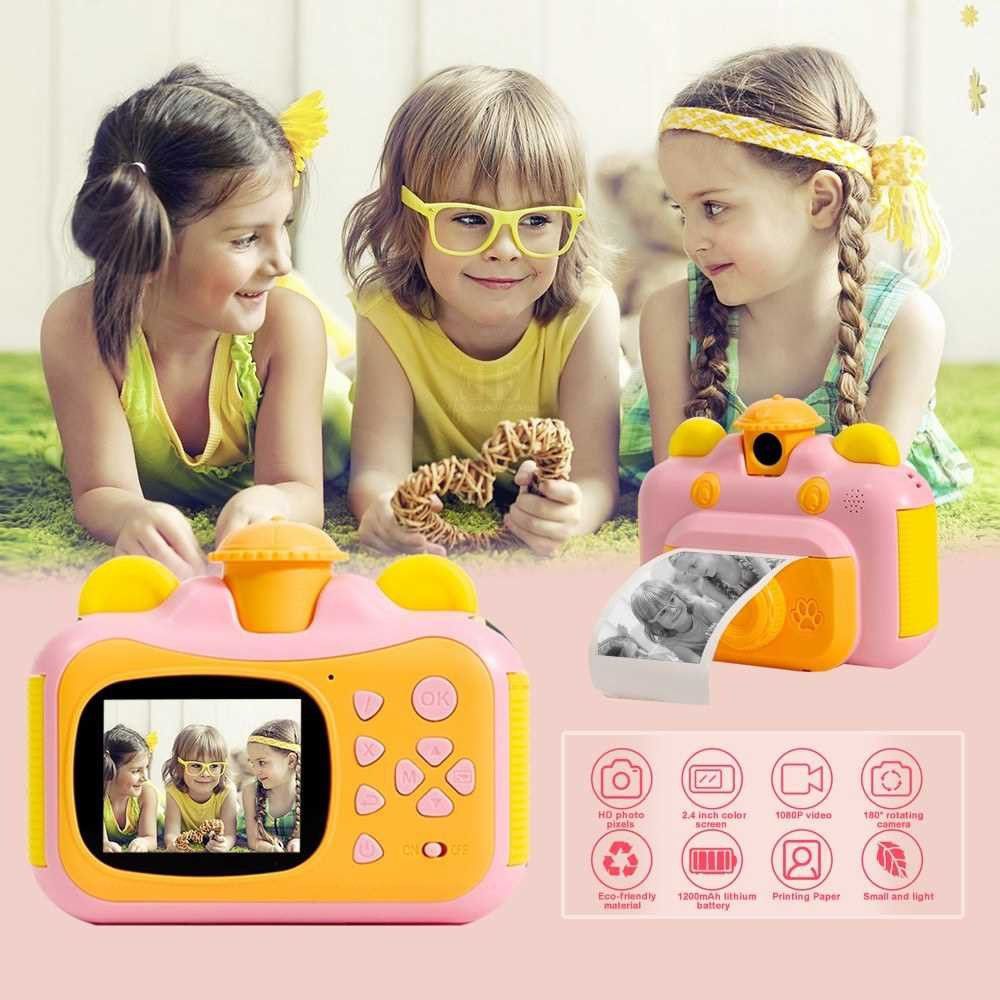 Instant Print Camera for Kids with Print Paper 2.4 Inch Screen 12MP Photo 1080p Video Recording Rechargeable Children C