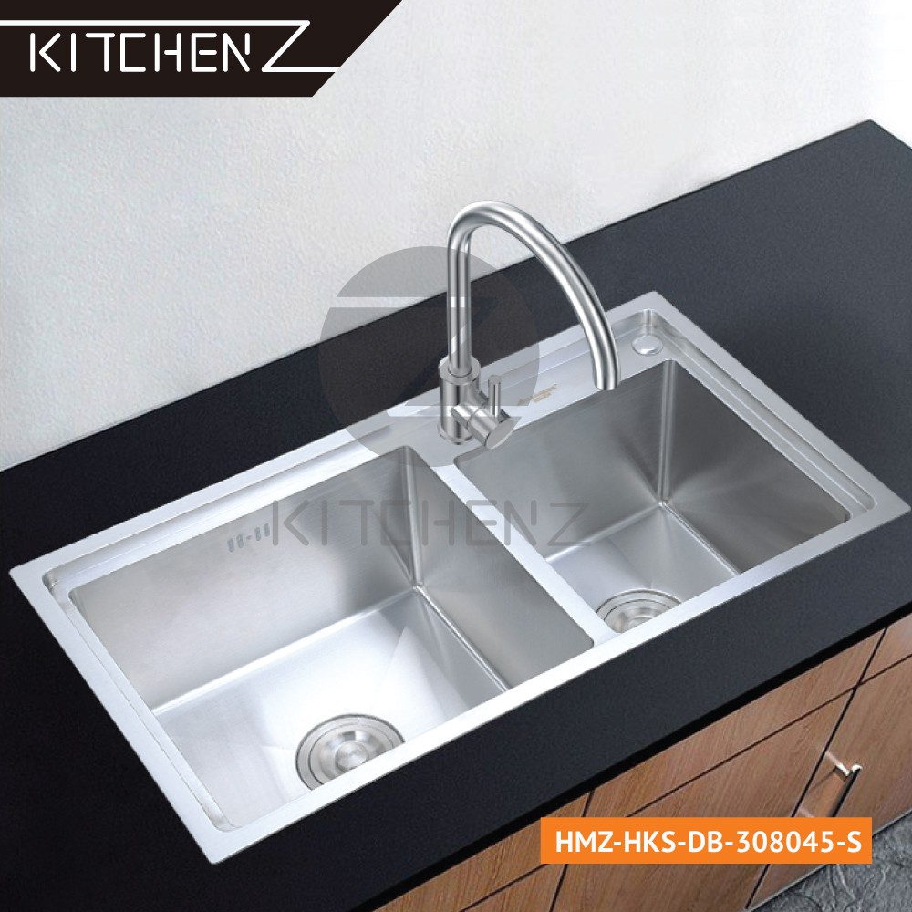 Kitchenz SUS304 Stainless Steel Handmade Double Bowl Kitchen Sink HMZ-HKS-DB-308045-S