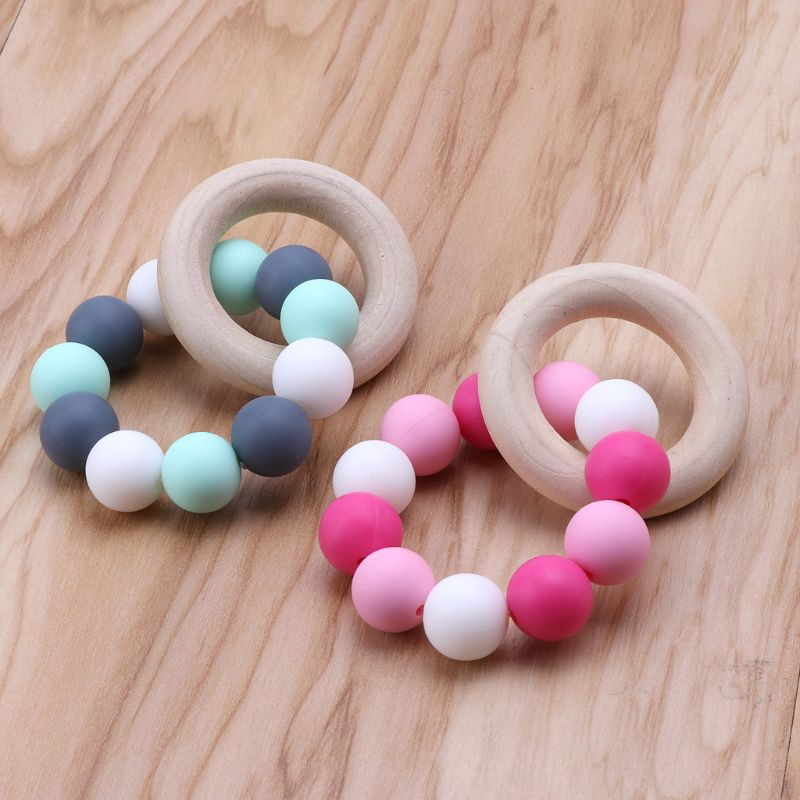 Wooden Teether Ring Baby Safe Nursing Breastfeeding Chew Bead Chew Training